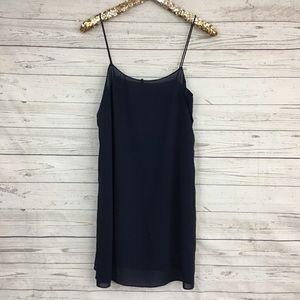 Theory navy blue semi sheer slip dress lining